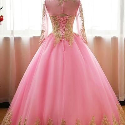 Pink tulle customize long prom gown..