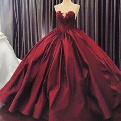 BURGUNDY LONG PROM GOWN SWEETHEART ..