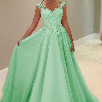 Green tulle lace round neck A-line ..