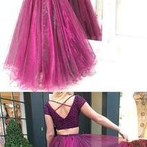 Two Piece Prom Dress,Tulle Beaded P..