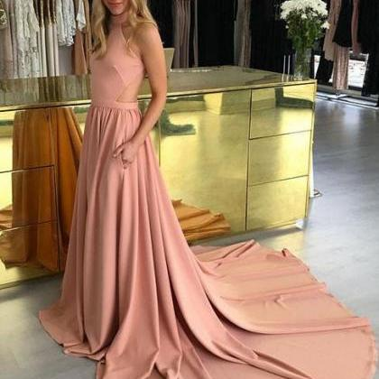Elegant High Neck Coral Long Prom D..