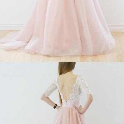 Elegant A-line White Sleeves Pink L..