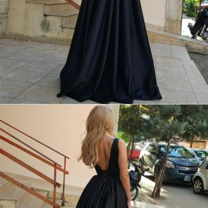 V Neck Black Prom Dress Maxi Dress