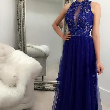 Royal Blue Long Prom Dresses High N..
