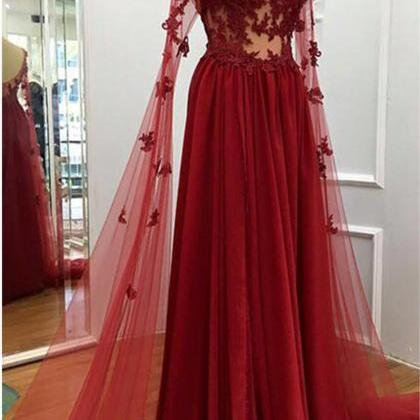 Burgundy prom dress,long formal dr..