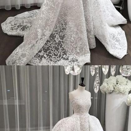 Lace Wedding Dress, Strapless Weddi..