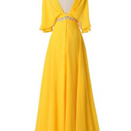 Yellow long dress beaded waist wais..