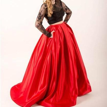 Long Sleeves Prom Dresses Ball Gown..