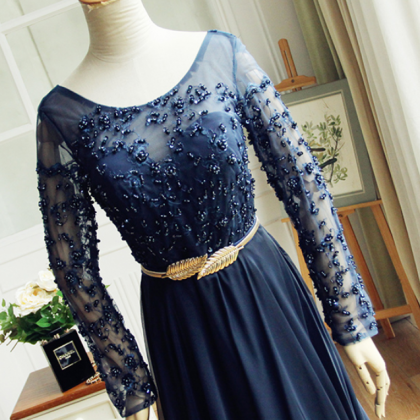 Navy blue dress lace gown long-slee..