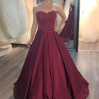 Burgundy lace long prom gown, burgu..