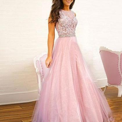Pink lace tulle long prom dress, pi..