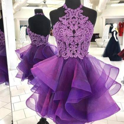 Cute purple tulle lace short prom d..
