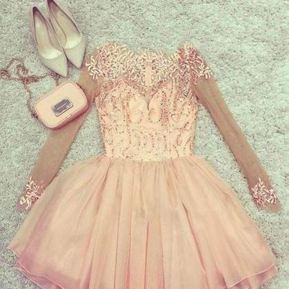 Cute pink tulle short prom dress, p..