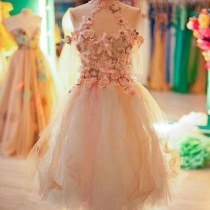 Cute tulle lace applique short prom..
