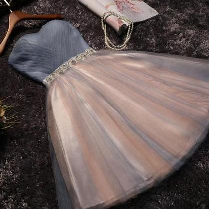 Cute tulle short prom dress for tee..