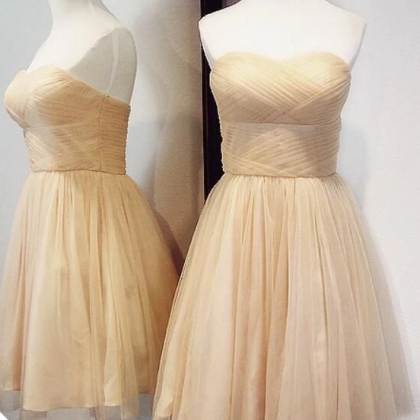Champagne Tulle Short Homecoming Dr..