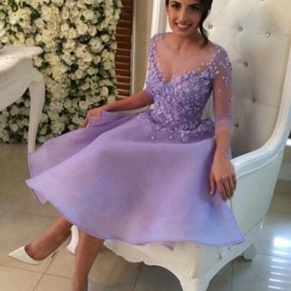 Sleeves Homecoming Dresses,Lavender..