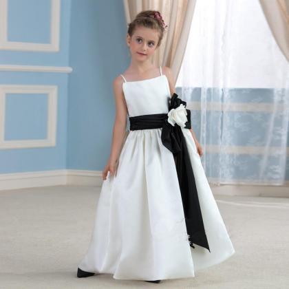 df1cce6f99 White Ivory Long Flower Girl Dresses Spaghetti Straps Birthday ...