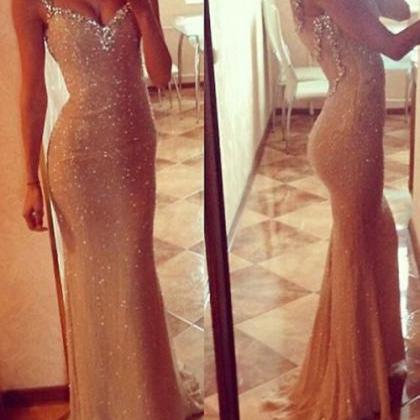 Champagne Long Beaded Mermaid Prom ..