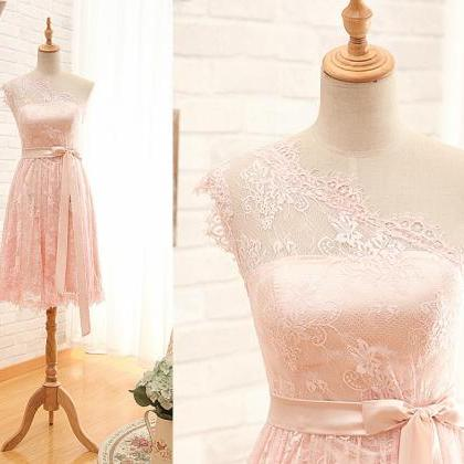 Short One Shoulder Blush Lace Bride..