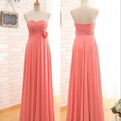 Floor Length Empire Coral Bridesmai..