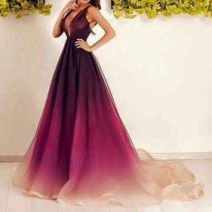 Charming purple prom dress,long chi..