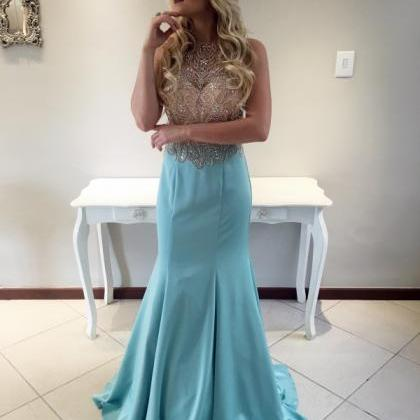 2017 Custom Made Light Blue Prom Dr..
