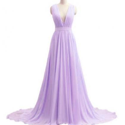 Beautiful V-neckline Chiffon Lavend..