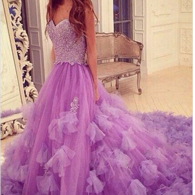 Stylish Sweetheart Court Train Purp..