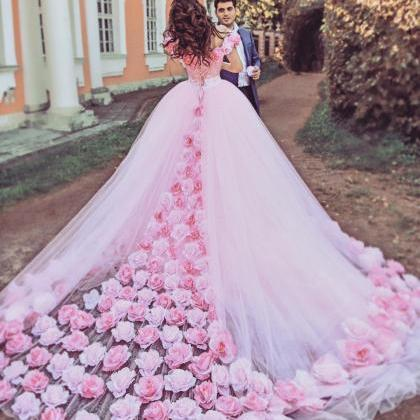 a468907f24f0 Rose Flower Wedding Dresses,pink Wedding Dress,ball Gown Wedding ...