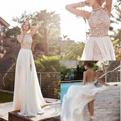 Sexy A-line High Neck Lace Bodice Beach Wedding Dress Ivory Chiffon Prom Dress