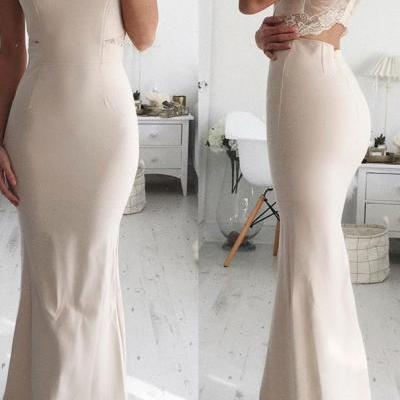 Nude Spaghetti Strap V Neck Long Prom Dress Mermaid Backless Formal Dress Lace Evening Dress