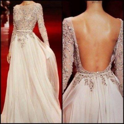 Charming Prom Dress,Beading Dress,A-Line Prom Dress,Chiffon Prom Dress,Long Sleeve Prom Dress