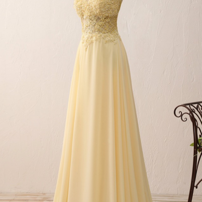 Yellow Chiffon Lace Appliques A Line Long Evening Dresses Zipper-Up