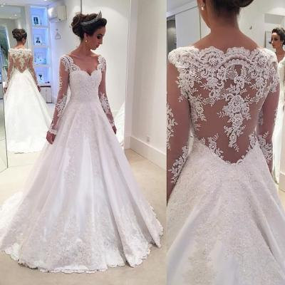 Elegant A Line Lace Wedding Dress,White Tulle Wedding Dresses,Sexy Wedding Gown 10136