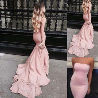 Blush Pink Mermaid Prom Dresses Strapless Satin Bodycon Evening Gowns With Court Train Long Mermaid Party Dress Sexy Cocktail Dresses Custom Make