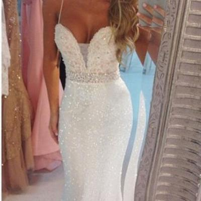 Long White Mermaid Evening Prom Dress Crystal New Spaghetti Straps Party Ball Pageant Formal Gowns FREE Shipping