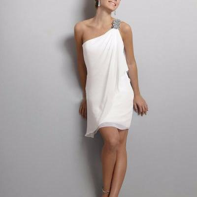 White Little Short Party Cocktail Dresses Off The Shoulder Sleeveless Beaded Prom Dress vestidos gasa robe blanche