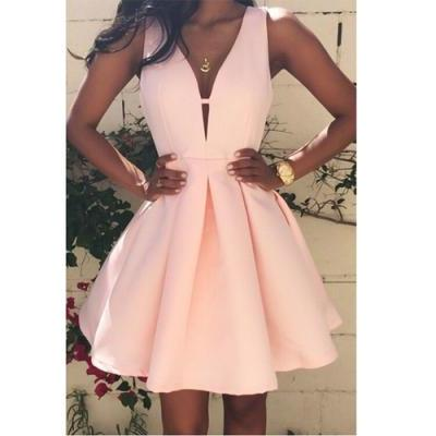 Ball Gown Homecoming Dresses, Sexy Cocktail Dresses,Pink V-neck Homecoming Dresses