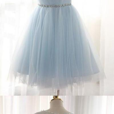 Tulle Homecoming Dresses,Elegant Evening Dresses,Beaded Bridesmaid Dresses,Knee Length Prom Dress
