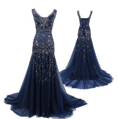 Charming Dark Blue Beading Prom Dress,Sexy Sleeveless Chiffon Evening Dress,Sexy Backless Lace Up Prom Dress