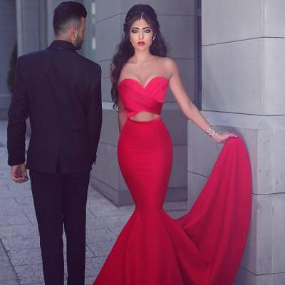 Prom Dress Sweetheart Prom Dress Mermaid/Trumpet Prom Dress Sexy Prom Dress Red Prom Dress Sleeveless Prom Dress Strapless Prom Dress