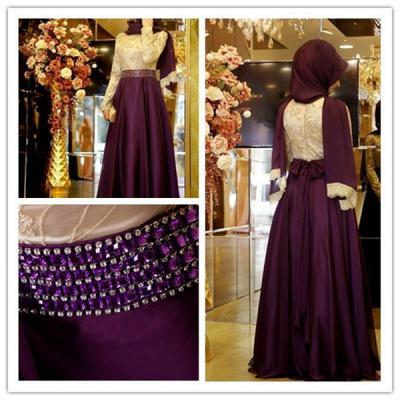 New Arrival Muslim Women's A-line Evening Prom Dress Islamic Dubai Abaya Kaftan Beading Maxi Dress Full Sleeve Arabic Long Formal Dress with Hijab