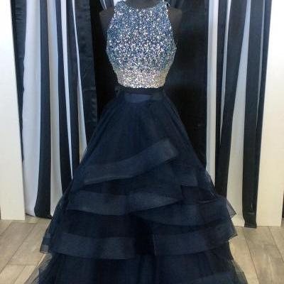 Prom Dresses,Party Dresses,Two Piece Prom Dresses,Ruffles Ball Gowns,Sparkly Sequins Dress,2 Piece Prom Dress,Long Party Dress,Prom Dresses 2017,Navy Blue  Prom Dress