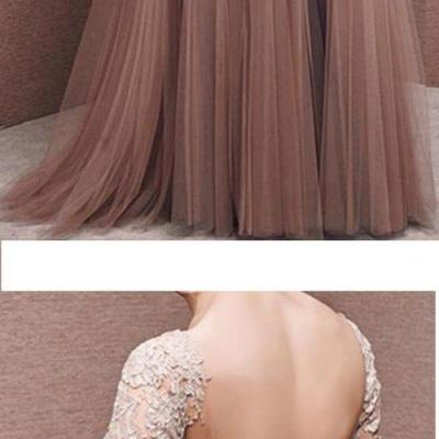 Charming Prom Dress,Tulle Prom Dress,Half-Sleeves Prom Dress,Appliques Evening Dress