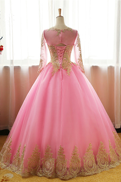 Pink tulle customize long prom gown with sleeves, long evening dress