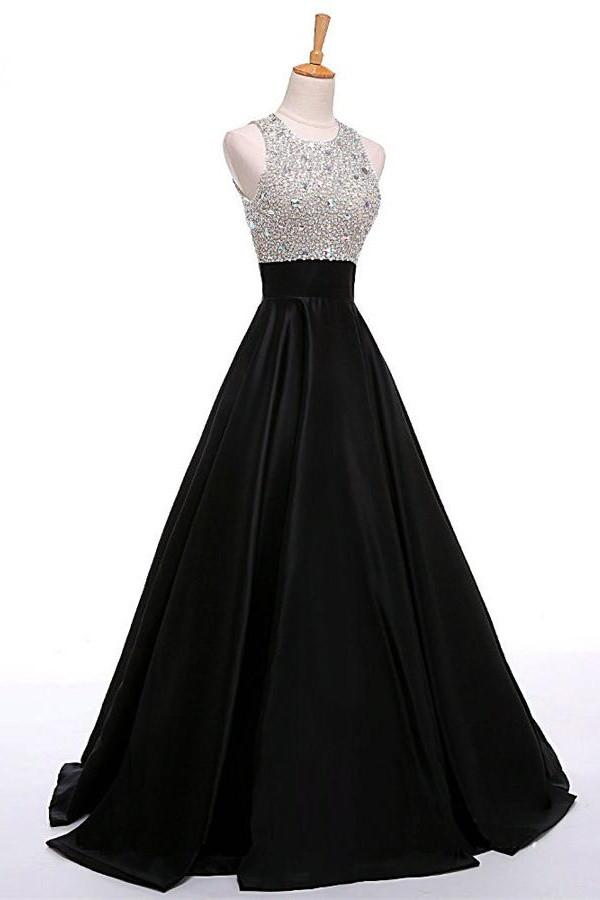 Long Black A-Line Round Neck Open Back Beading Satin Prom Dresses
