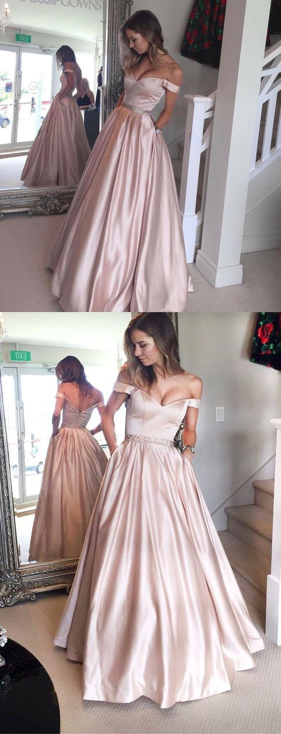 Charming Pink A-line Off Shoulder Beaded Satin Prom Dresses Ruffles Party Dress Formal Dress Graduation Dresses