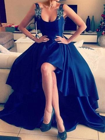 Asymmetrical Sexy Royal Blue Appliques Lace High Low Backless Prom Dresses Backless Prom Dress