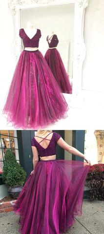Two Piece Prom Dress,Tulle Beaded Prom Dresses,Long Prom Dress,Evening Dress